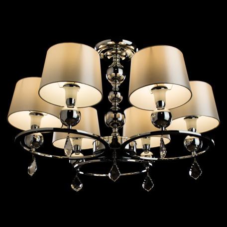 Потолочно-подвесная люстра Arte Lamp Promessa A3074LM-6CC, 6xE14x40W, хром, бежевый, прозрачный, металл, текстиль, хрусталь - миниатюра 2