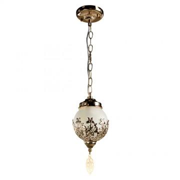 Подвесной светильник Arte Lamp Moroccana A4552SP-1GO, 1xE27x60W, золото, белый, металл, стекло