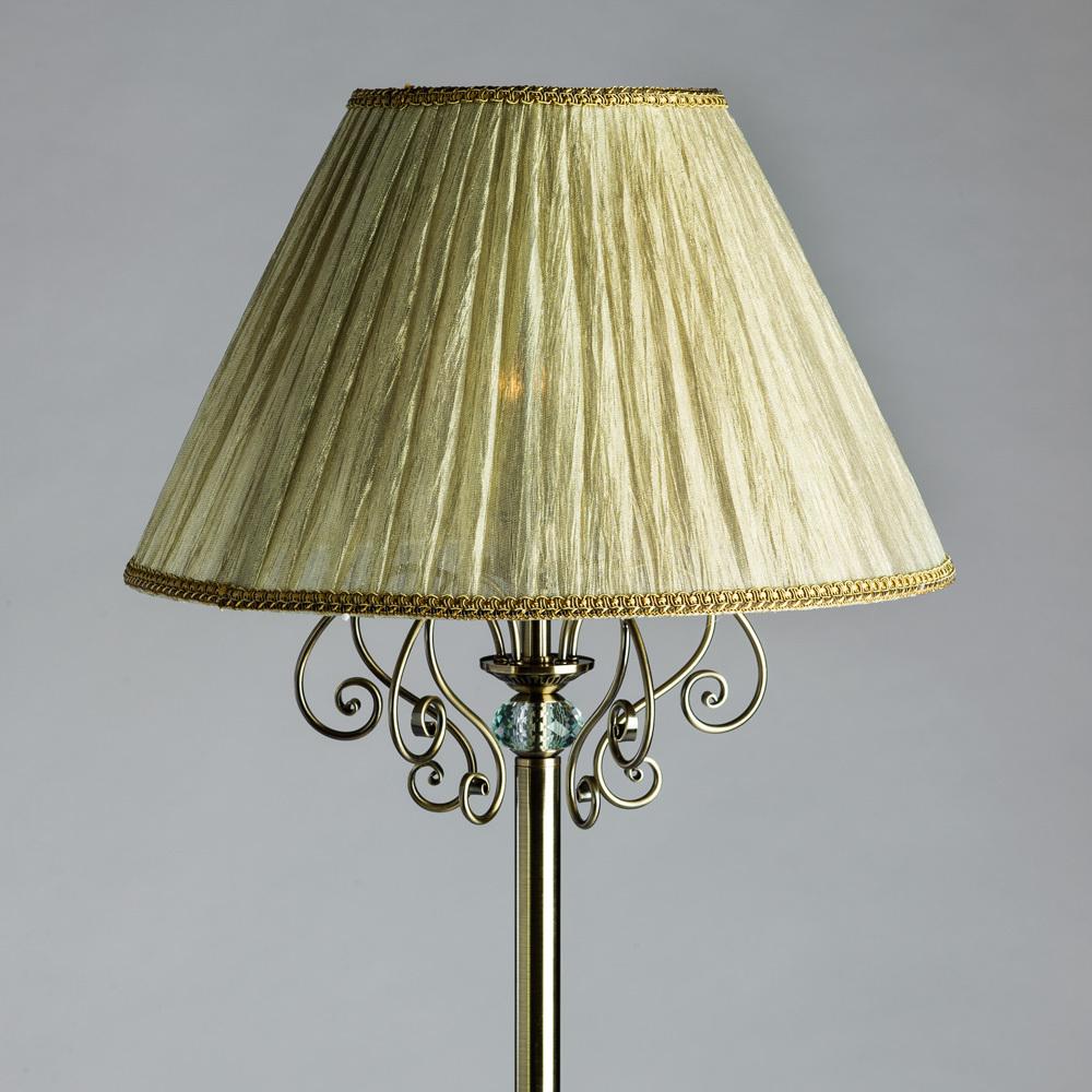 Торшер Arte Lamp Charm A2083PN-1AB, 1xE27x60W, бронза, бежевый, металл с хрусталем, текстиль - фото 3