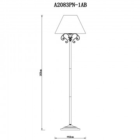 Схема с размерами Arte Lamp A2083PN-1AB
