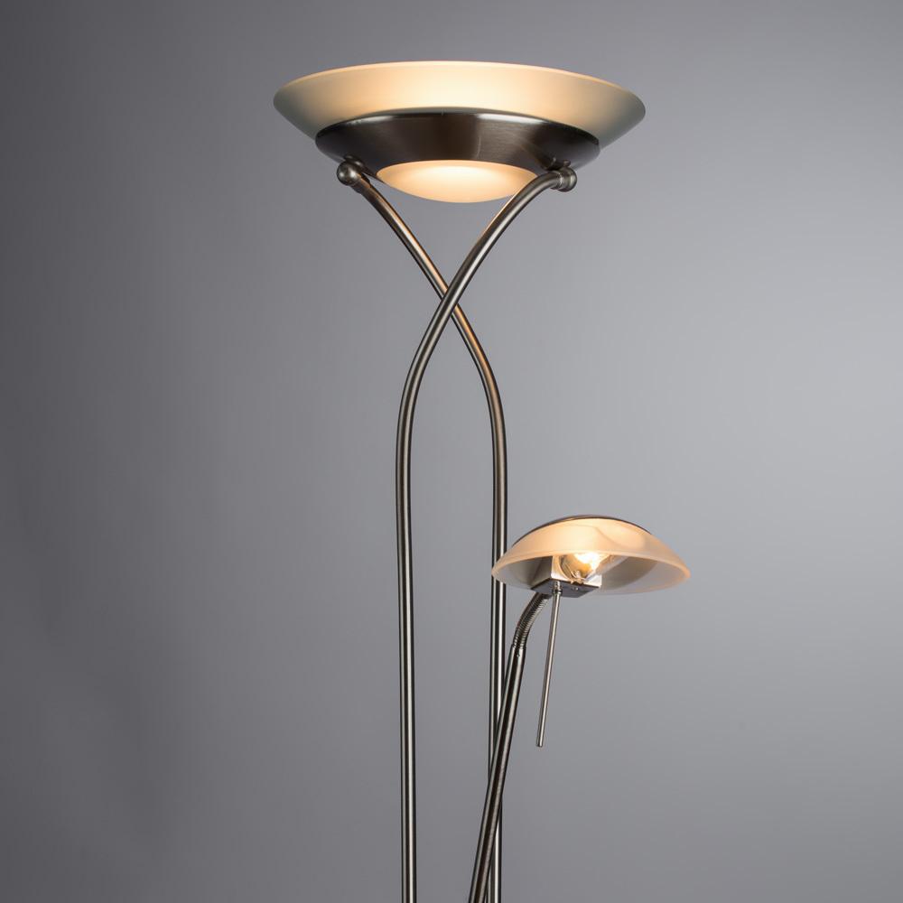 Торшер Arte Lamp Duetto A4399PN-2SS, 1xR7S118mmx230W + 1xG9x33W, серебро, металл, металл со стеклом - фото 2