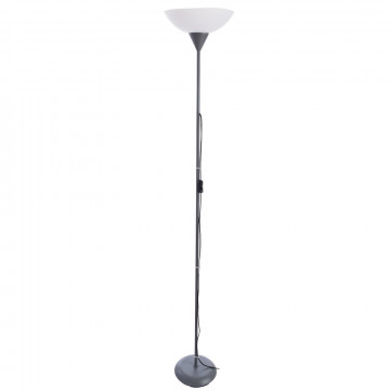 Торшер Arte Lamp Duetto A9569PN-1SI, 1xE27x60W, серебро, белый, металл, пластик