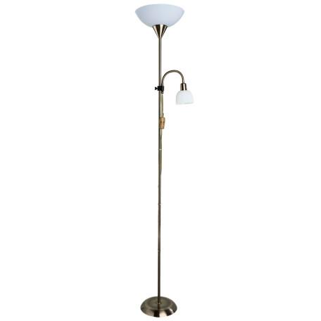 Торшер Arte Lamp Duetto A9569PN-2AB, 1xE27x60W +  1xE14x25W, бронза, белый, металл, пластик