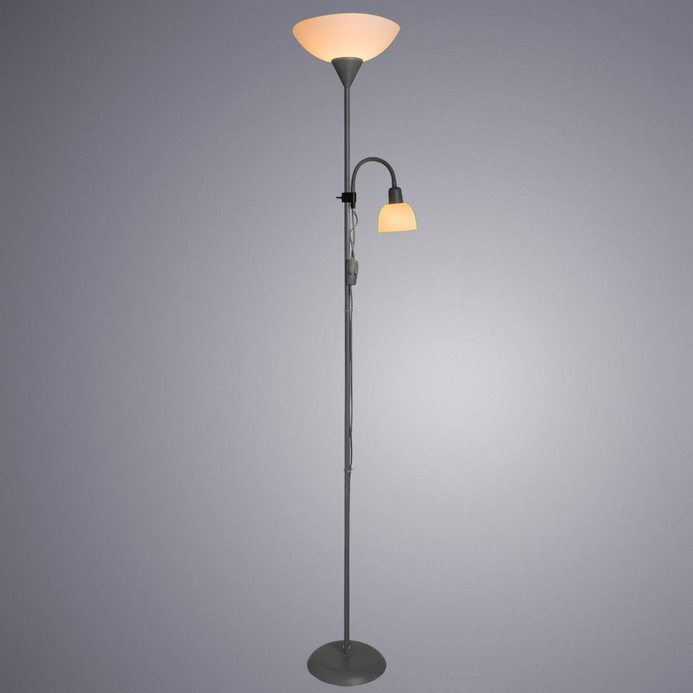 Торшер Arte Lamp Duetto A9569PN-2SI, 1xE27x60W + 1xE14x25W, серебро, белый, металл, пластик - фото 2