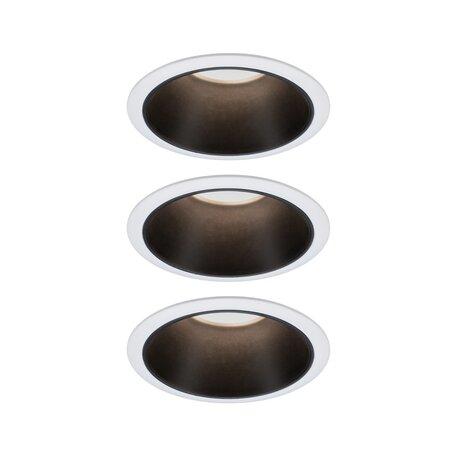 Встраиваемый светодиодный светильник Paulmann Coin 3StepDim 93402, IP44, LED 6,5W, черный, черно-белый, металл