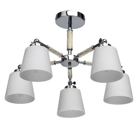 Потолочная люстра с регулировкой направления света De Markt Форест 693012205, 5xE27x40W, хром, белый, металл, стекло