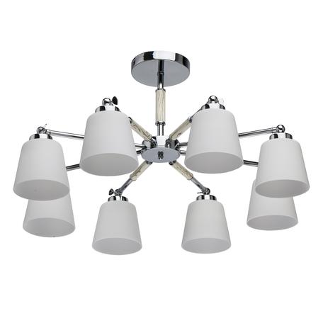 Потолочная люстра с регулировкой направления света De Markt Форест 693012308, 8xE27x40W, хром, бежевый, белый, металл, стекло