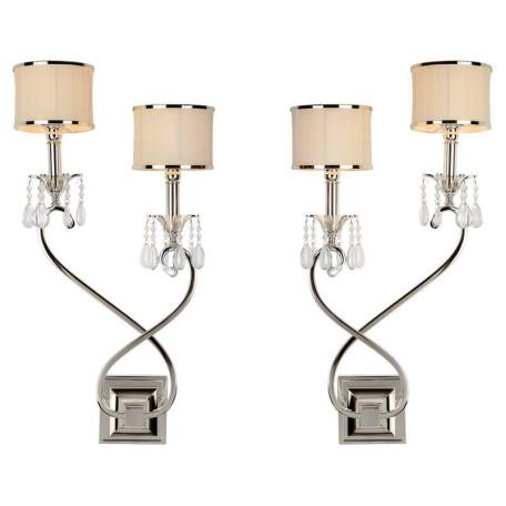 Бра L'Arte Luce Luxury Lombard L00522, 2xE14x40W, металл, текстиль, хрусталь