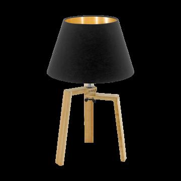 Настольная лампа Eglo Chietino 97515, 1xE27x60W, коричневый, черный, дерево, текстиль