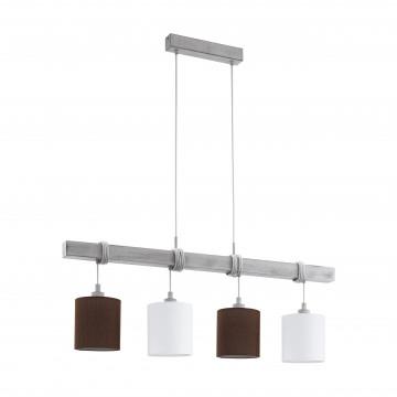 Подвесной светильник Eglo Trend & Vintage Industrial Townshend 2 49927, 4xE27x60W, белый, коричневый, дерево, текстиль