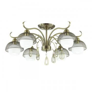 Потолочная люстра Lumion Cecillia 3667/6C, 6xE14x60W, бронза, белый, металл, стекло