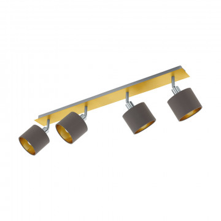 Потолочный светильник с регулировкой направления света Eglo Valbiano 97539, 4xE14x10W, матовое золото, серый, металл, текстиль
