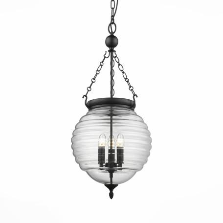 Подвесная люстра ST Luce Sotto SL317.403.03, 3xE14x60W, черный, прозрачный, металл, ковка, стекло