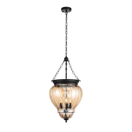 Подвесная люстра ST Luce Sotto SL317.433.03, 3xE14x60W, черный, янтарь, металл, ковка, стекло