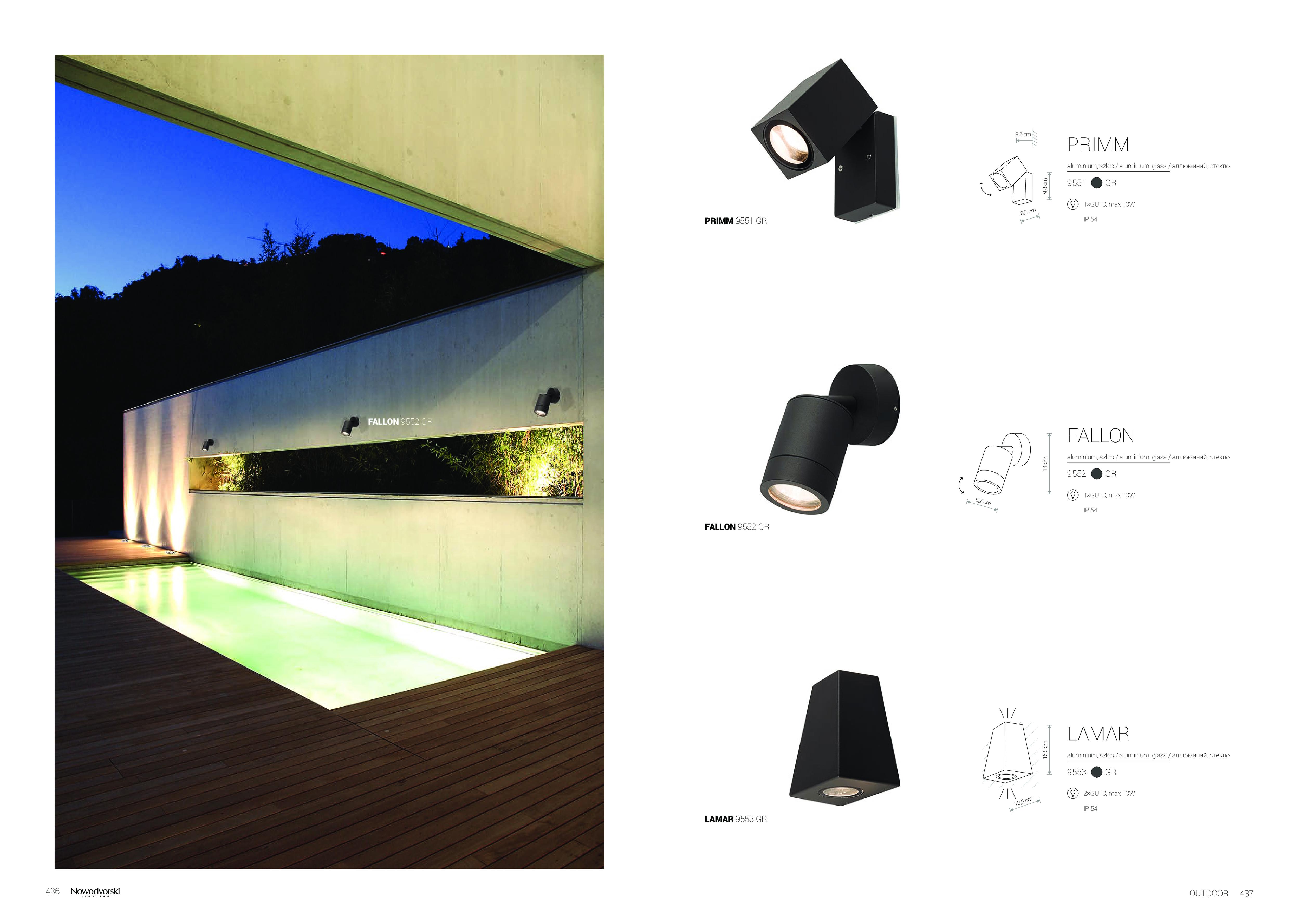 Настенный светильник Nowodvorski Lamar 9553, IP44, 2xGU10x10W, черный, металл со стеклом, стекло - фото 2