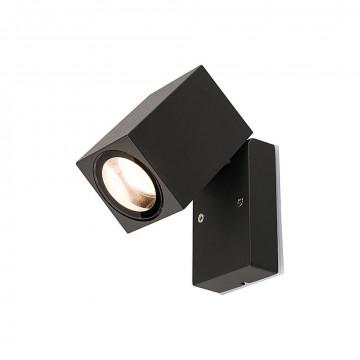 Настенный светильник с регулировкой направления света Nowodvorski Primm 9551, IP44, 1xGU10x10W, черный, черный с прозрачным, металл, металл со стеклом, стекло