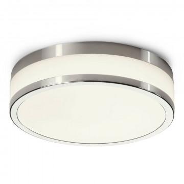 Потолочный светодиодный светильник Nowodvorski Malakka LED 9501, IP44, LED 18W 940lm, белый с хромом, хром с белым, металл со стеклом
